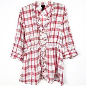 Torrid | Red Plaid Ruffle Button Down Shirt